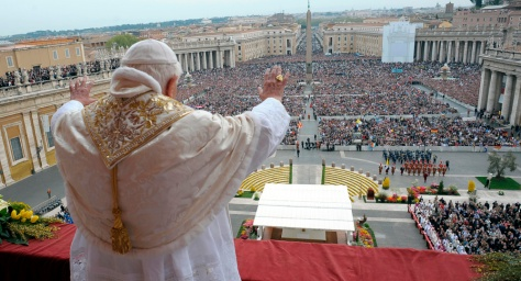 Pope Benedict delivers his Urbi et Orbi Easter blessing over Saint Peter's square at the Vatican