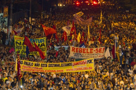 Demonstrators march during one of the many protests around Brazil's major cities in Belem