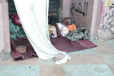 Sans-abri à la place Tahrir au Caire.