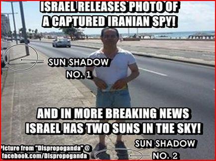 Ombre N°1 (poteau) et ombre N°2 (jambes). Info dernière: la Palestine occupée à deux soleils dans son ciel