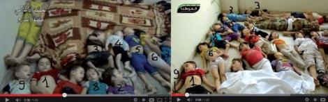 Au moins neuf de ces enfants apparaissent dans deux séquences différentes, dans deux endroits différents