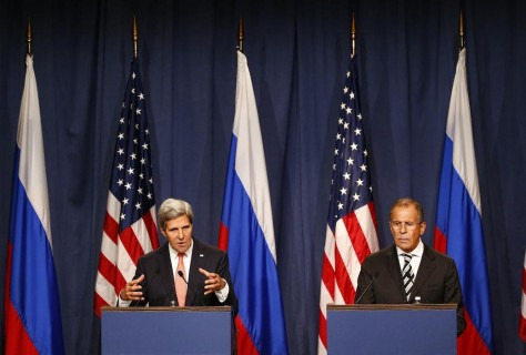 U.S. Secretary of State Kerry and Russian Foreign Minister Lavrov speak, following meetings regarding Syria, at a news conference in Geneva