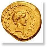 Monnaie en or à l'effigie de Jules César