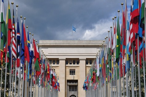 UN Geneva Office and Flags 2